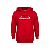 Youth Red Fleece Hoodie-Football Arch