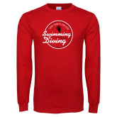 Red Long Sleeve T Shirt-Volleyball Abstract