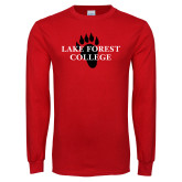 Red Long Sleeve T Shirt-Lake Forest College w/ Paw