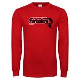 Red Long Sleeve T Shirt-Hockey Puck