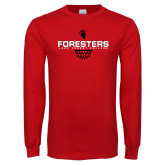 Red Long Sleeve T Shirt-Lake Forest Basketball