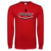 Red Long Sleeve T Shirt-Softball Plate