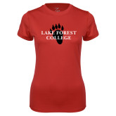 Ladies Syntrel Performance Red Tee-Lake Forest College w/ Paw