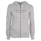 ENZA Ladies Grey Fleece Full Zip Hoodie-Wordmark Graphite Soft Glitter