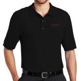 Black Easycare Pique Polo-Wordmark