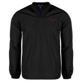 V Neck Black Raglan Windshirt-Wordmark
