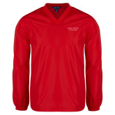 V Neck Red Raglan Windshirt-Wordmark