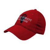 Red Twill Unstructured Low Profile Hat-Lake Forest College w/ Paw