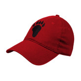 Red Twill Unstructured Low Profile Hat-Paw