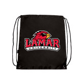 Nylon Black Drawstring Backpack-Lamar University w/Cardinal Head