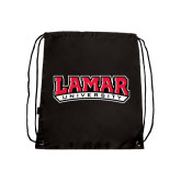 Nylon Black Drawstring Backpack-Lamar University