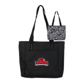 Meribel Black Reversible Tote-Lamar University w/Cardinal Head