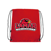 Nylon Red Drawstring Backpack-Lamar University w/Cardinal Head