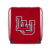 Nylon Red Drawstring Backpack-Interlocking LU