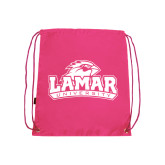 Nylon Pink Drawstring Backpack-Lamar University w/Cardinal Head