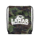 Nylon Camo Drawstring Backpack-Lamar University w/Cardinal Head