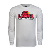 White Long Sleeve T Shirt-Lamar University w/Cardinal Head