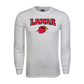 White Long Sleeve T Shirt-Lamar w/Cardinal Head