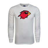 White Long Sleeve T Shirt-Cardinal Head