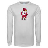 White Long Sleeve T Shirt-Cardinal Full Body