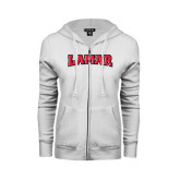 Ladies White Fleece Full Zip Hoodie-Lamar