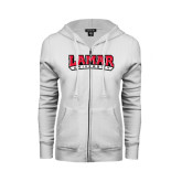 Ladies White Fleece Full Zip Hoodie-Lamar University