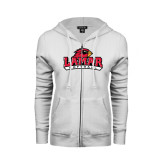 Ladies White Fleece Full Zip Hoodie-Softball