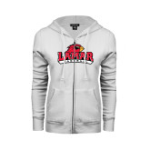 Ladies White Fleece Full Zip Hoodie-Baseball