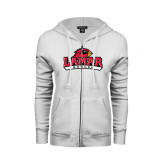 Ladies White Fleece Full Zip Hoodie-Soccer