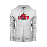 Ladies White Fleece Full Zip Hoodie-Cross Country