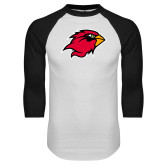White/Black Raglan Baseball T-Shirt-Cardinal Head