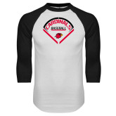 White/Black Raglan Baseball T-Shirt-Baseball Geometric Plate