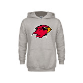 Youth Grey Fleece Hood-Cardinal Head