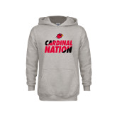 Youth Grey Fleece Hood-Cardinal Nation