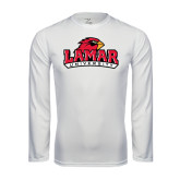 Syntrel Performance White Longsleeve Shirt-Lamar University w/Cardinal Head