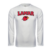Syntrel Performance White Longsleeve Shirt-Lamar w/Cardinal Head