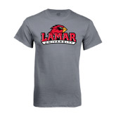 Charcoal T Shirt-Lamar University w/Cardinal Head