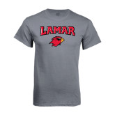 Charcoal T Shirt-Lamar w/Cardinal Head