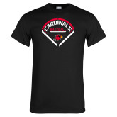 Black T Shirt-Baseball Geometric Plate