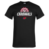 Black T Shirt-Geometric Volleyball Design