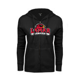 Ladies Black Fleece Full Zip Hoodie-Softball