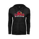 Ladies Black Fleece Full Zip Hoodie-Lamar University w/Cardinal Head