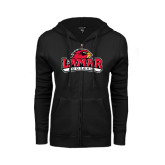 Ladies Black Fleece Full Zip Hoodie-Football