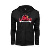 Ladies Black Fleece Full Zip Hoodie-Alumni