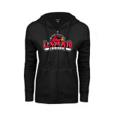 Ladies Black Fleece Full Zip Hoodie-Soccer