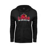 Ladies Black Fleece Full Zip Hoodie-Volleyball