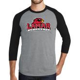 Grey/Black Tri Blend Baseball Raglan-Primary Mark