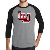 Grey/Black Tri Blend Baseball Raglan-Interlocking LU