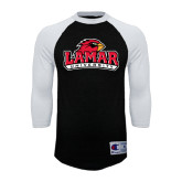 Champion Black/White Raglan Baseball T Shirt-Lamar University w/Cardinal Head