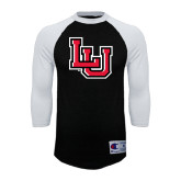 Champion Black/White Raglan Baseball T Shirt-LU
